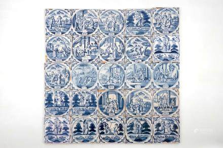 A set of 25 Dutch Delft blue and white biblical tiles, prob. Frisian, 18th C.