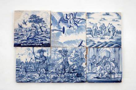 A set of 6 blue and white Dutch Delft biblical tiles, mostly Rotterdam, 18th C.