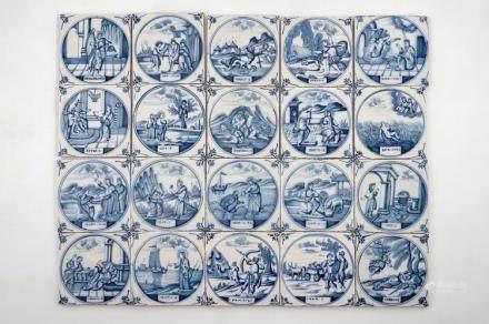 A set of 20 Dutch Delft blue and white biblical tiles, Utrecht, 18th C.