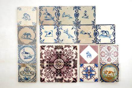 A collection of 30 various Dutch Delft tiles, 17/19th C.