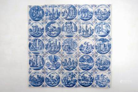 A set of 25 Dutch Delft blue and white biblical tiles, 18th C.