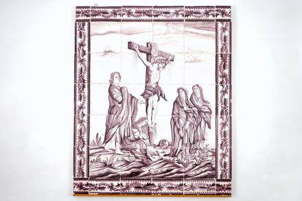 A manganese Dutch Delft 20 tile panel with Christ on the cross, late 18th C.