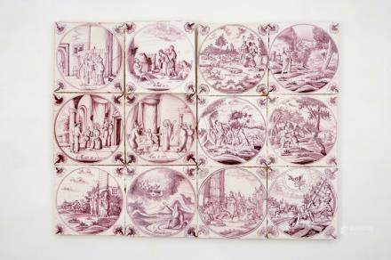 A set of 12 manganese Dutch Delft biblical tiles with carnation corners, 18th C.