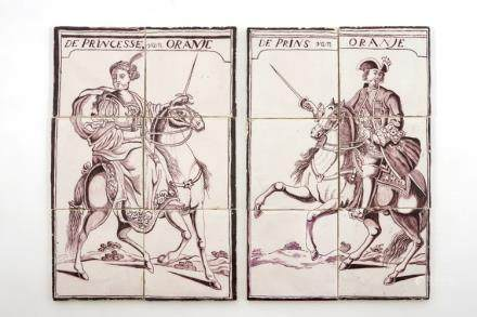 A pair of manganese Dutch Delft tile panels with royals on horsebacks, late 18th C.