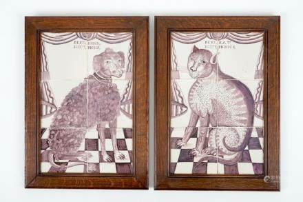 A pair of manganese Dutch Delft tile panels with a cat and a dog, 18th C.