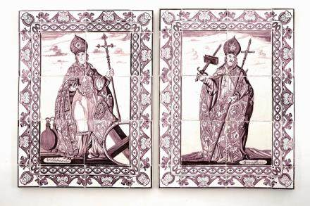 A pair of manganese Dutch Delft tile panels depicting Saint Willibrord and Saint Boniface, late 18th C.
