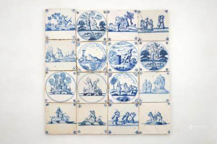 A set of 16 Dutch Delft blue and white biblical tiles, 17/18th C.