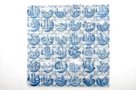 A set of 36 Dutch Delft blue and white biblical tiles, 18th C.