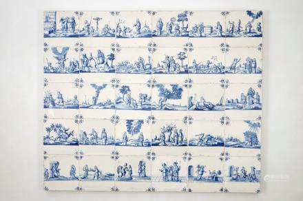 A panel of 30 blue and white Dutch Delft tiles, Rotterdam, late 17th C.