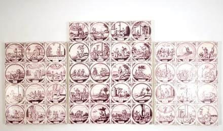 A set of 44 manganese Dutch Delft biblical tiles, prob. Utrecht, 18/19th C.