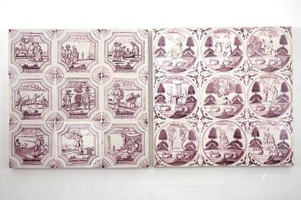 A set of 18 manganese Dutch Delft biblical tiles, 18/19th C.