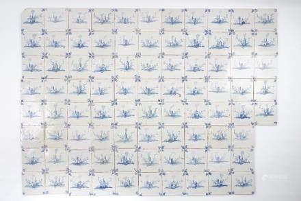 A set of 85 blue and white Dutch Delft style landscape tiles, Bruges, Pulinx workshop, 18th C.
