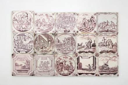 A set of 15 manganese Dutch Delft biblical tiles, 18/19th C.