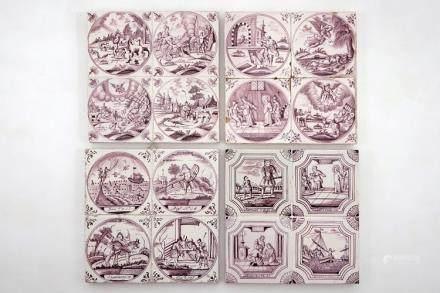 A set of 16 manganese Dutch Delft biblical tiles, 18/19th C.