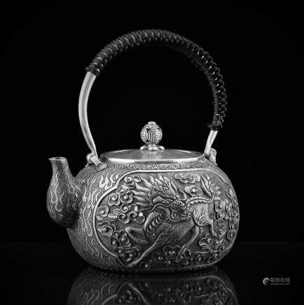 CHINESE EXPORT QILIN SILVER TEA POT