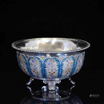 CHINESE EXPORT ENAMELED SILVER TRIPOD BASIN