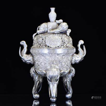 19TH C. CHINESE EXPORT SILVER REPOUSSED ELEPHANT CENSER