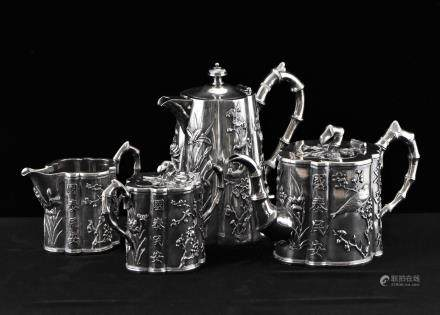 SET OF 4, 19/20TH C CHINESE EXPORT SILVER TEA SET WANG