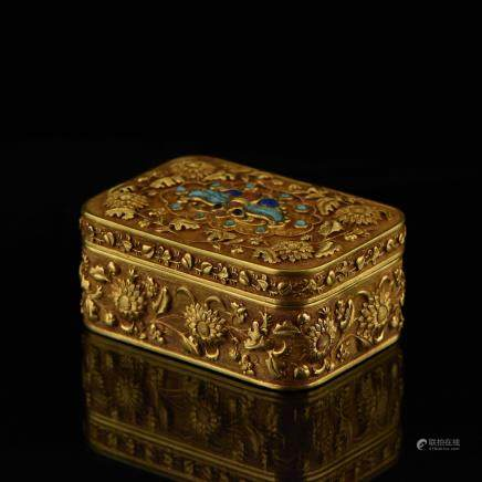 QIANLONG SOLID GOLD INLAID TRINKET BOX