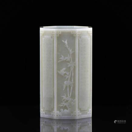 QING QIANLONG WHITE JADE OCTAGONAL BRUSH POT