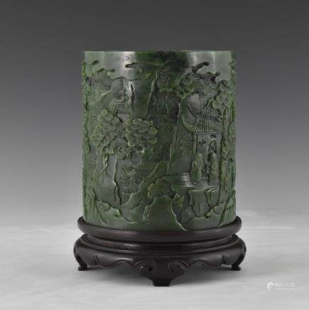 MAGNIFICENT SPINACH-GREEN JADE BRUSH POT