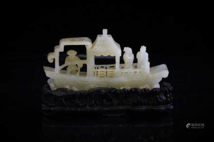 CHINESE CARVED WHITE JADE OF BOAT, 19TH C.