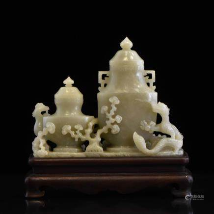 CARVED JADE COVERED URN OF DRAGON AND PHOENIX