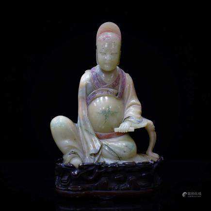 CARVED SEATED LUOHAN SOAPSTONE ON STAND
