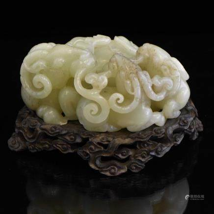 FINE CARVED WHITE JADE OF THREE SHEEP
