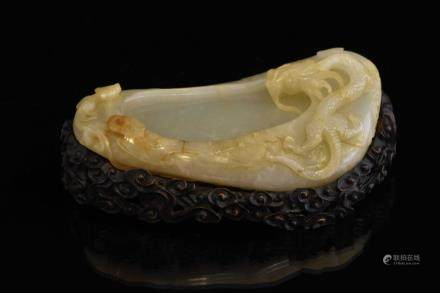 DRAGON AND TIGER ON GOURD JADE BRUSH WASHER ON STAND