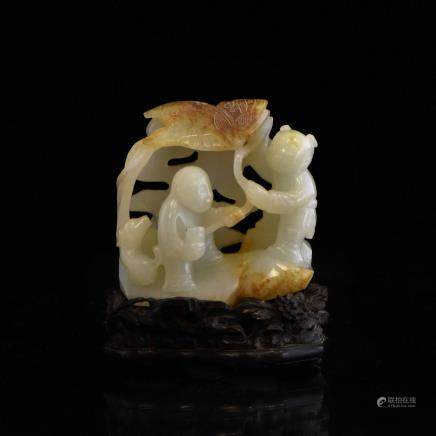 CARVED WHITE JADE OF TWO FIGURE BENEATH TREE