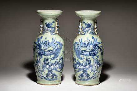PAIR OF BLUE AND WHITE 'EIGHT IMMORTALS' VASES