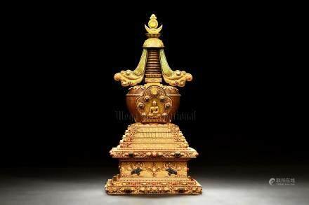 GILT BRONZE AND GEM-STUDDED BUDDHIST PAGODA
