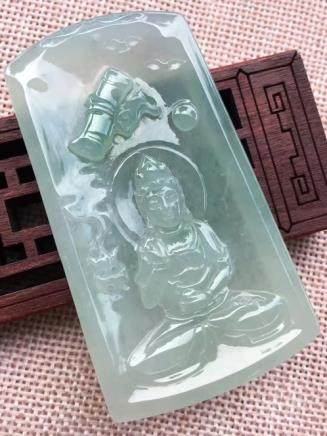GUANYIN DESIGN NATURAL   JADEITE PENDANT With certificate.