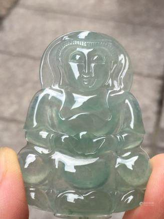 GUANYIN DESIGN NATURAL ICY  JADEITE PENDANT With certificate.