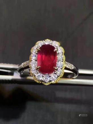 A NATURAL OVAL-SHAPED PIGEON-BLOOD RUBY RING