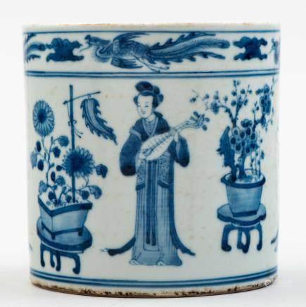 Bote de pinceles en porcelana china azul y blanca. Trabajo Chino, Siglo XX.