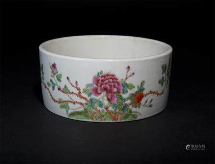 Famille-Rose Floral Brush Washer Republic Period