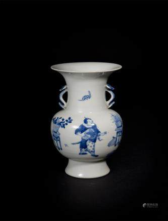 Blue and White Figure Vase with Ruyi Handles Qing