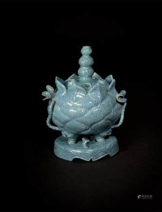 Robin's Egg-Glazed Tripod Lotus-shaped Censer