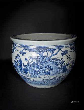 Blue and White Figure Jar Qing