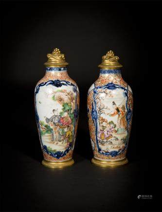 A Pair Of Chinese 'Mandarin Pattern' Vases With Ormolu Mounts