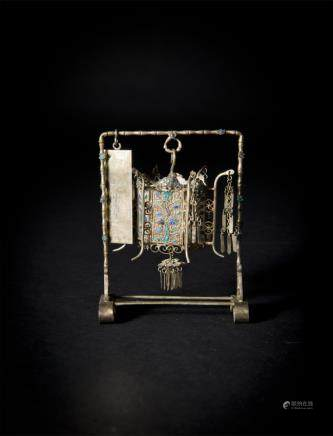 Gilt Silver Lantern embellished with Famille-Rose Plaques