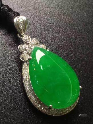 A NATURAL DROP-SHAPED YANGLV JADEITE PENDANT