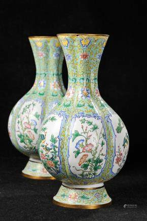 PAIR OF CHINESE BRONZE ENAMEL FLOWER VASES