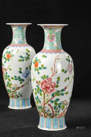PAIR OF CHINESE FAMILLE ROSE FLOWER VASES