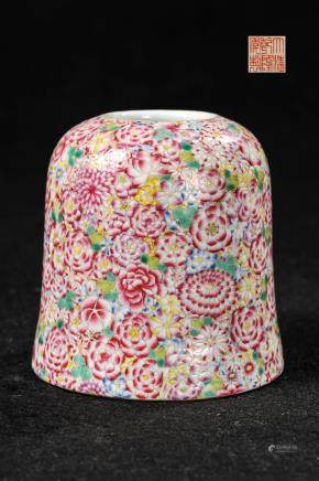 CHINESE MILLIFLORAL PORCELAIN INK WELL