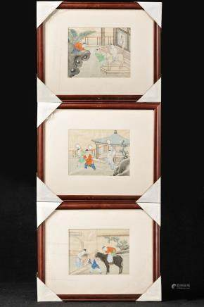GROUP OF 3 FRAMED INK AND COLOR PAINTINGS
