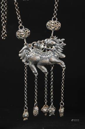 CHINESE SILVER QILIN NECKLACE PENDANT