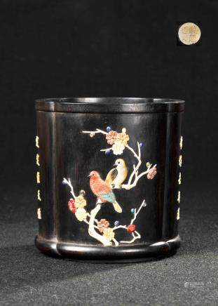 CHINESE LOBBED SHAPED HARD WOOD BRUSH POT INLAID